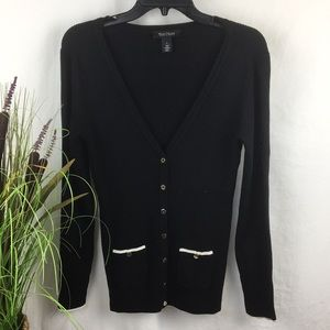 WHBM Black Snap Front Cardigan Sweater S